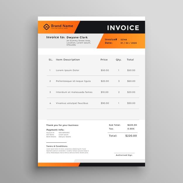 Orange Und Schwarz Professionelle Rechnungsvorlage Download Der