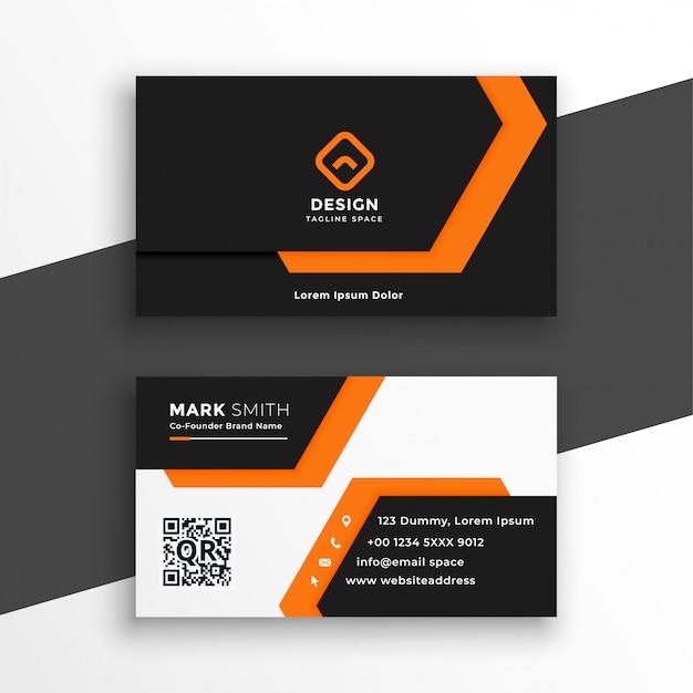 Orange und weiße geometrische visitenkarte Kostenlosen Vektoren