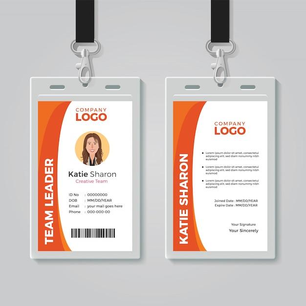 Orange und weiße Unternehmensausweis-Schablone Premium Vektoren