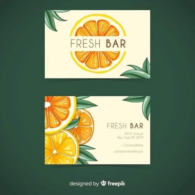Orange visitenkarteschablone des aquarells Kostenlosen Vektoren