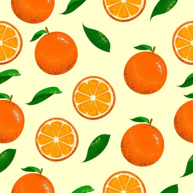 Orangen nahtlose muster Premium Vektoren