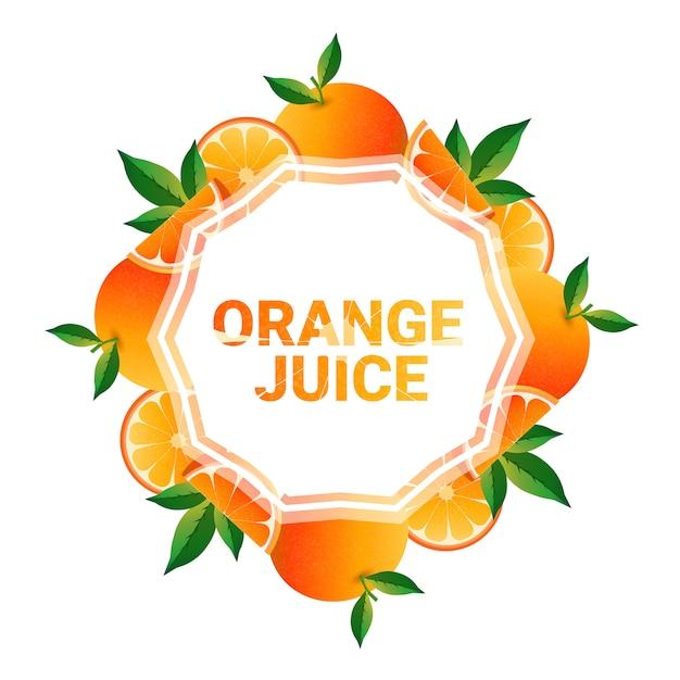 Orangenfrucht bunte kreis kopie raum bio über weißem hintergrundmuster Premium Vektoren