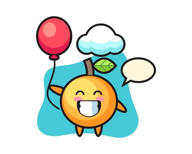 Orangenfruchtkarikatur spielt ballon Premium Vektoren