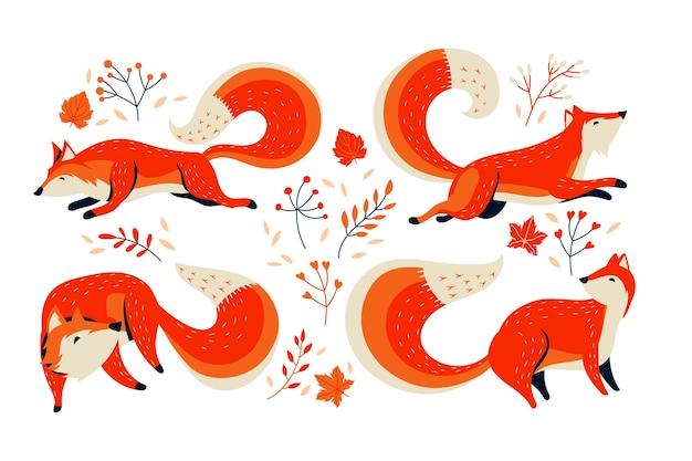 Orangenfuchs-sammlung mit herbstblume Premium Vektoren