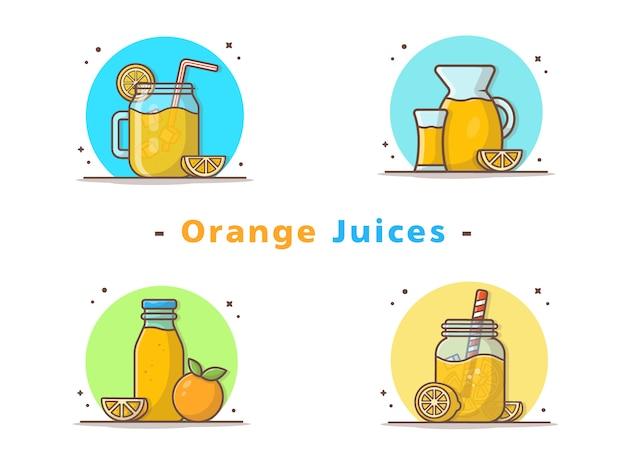 Orangensäfte und orangenscheibe icons Premium Vektoren