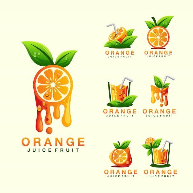 Orangensaft-logo Premium Vektoren