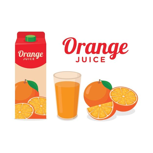Orangensaftpaket ein glas orangensaft und ganze halbe scheibe des orangenfruchtvektors Premium Vektoren