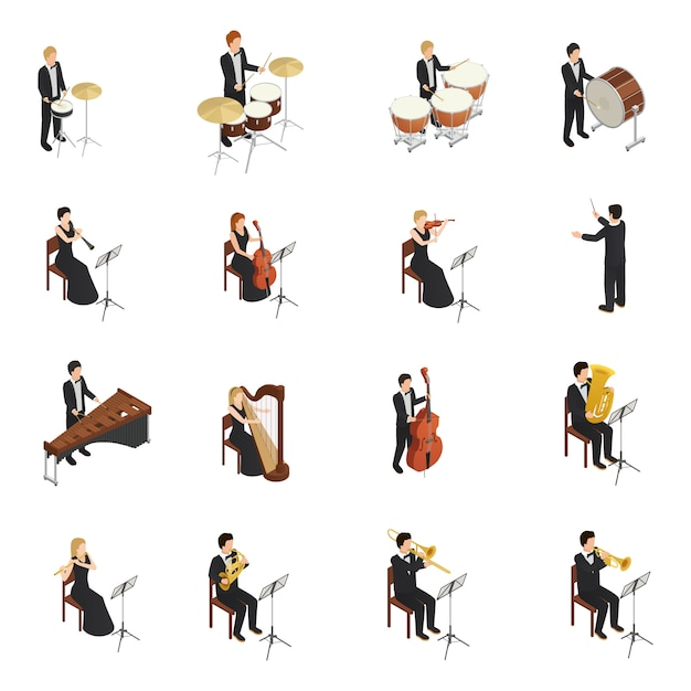 Orchester people set Kostenlosen Vektoren