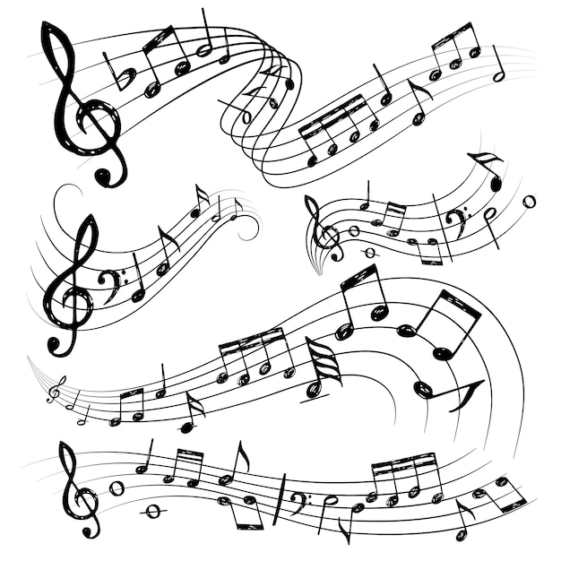 Orchesternoten. zeichen oder sound symbole musiker gitarre wintergarten notizen sammlung Premium Vektoren