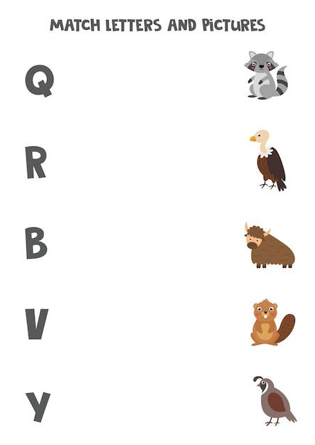 Ordnen sie tiere englischen buchstaben zu. lernspiel für kinder. arbeitsblatt zur rechtschreibung. Premium Vektoren