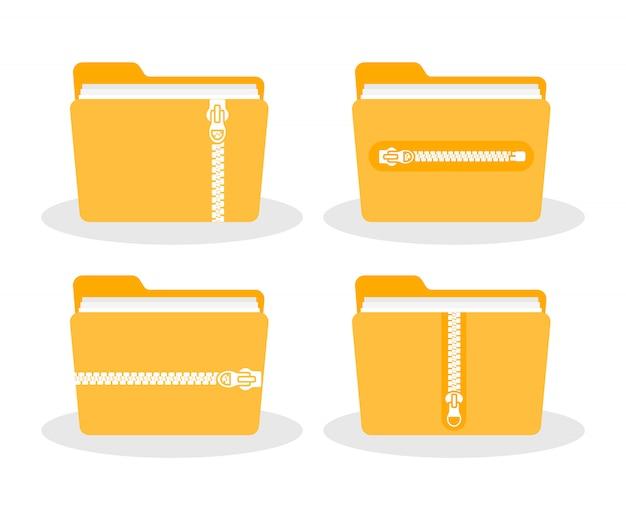 Ordner mit reißverschluss. zip-ordnersymbol. Premium Vektoren