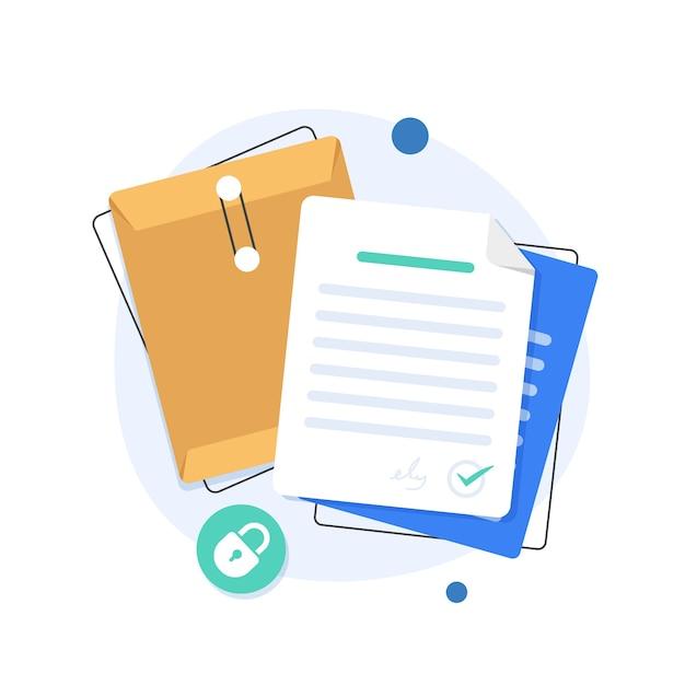 Ordner öffnen, ordner mit dokumenten, dokumentenschutzkonzept Premium Vektoren