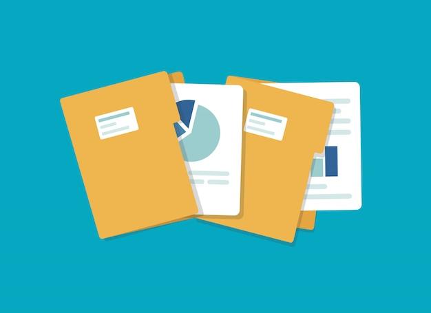 Ordnersymbol öffnen. ordner mit dokumenten Premium Vektoren