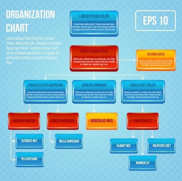 Organigramm 3d konzept geschäftsarbeit hierarchie flussdiagramm struktur vektor-illustration Kostenlosen Vektoren
