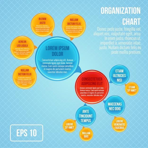 Organigramm infografik business blasen kreis arbeit struktur vektor-illustration Kostenlosen Vektoren