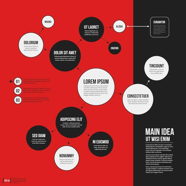 Organigramm vorlage mit geometrischen elementen auf hellem roten hintergrund. nützlich für wissenschaftliche und geschäftliche präsentationen. Premium Vektoren