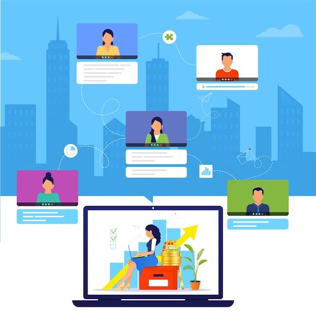 Organisation eines workflows oder einer schulung über das internet. Premium Vektoren