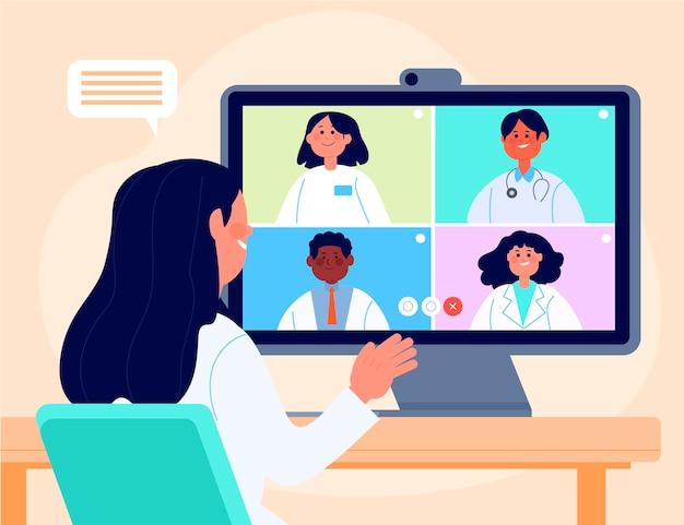 Organische flache online-medizinische konferenz Kostenlosen Vektoren