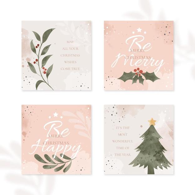 Organische handgezeichnete weihnachtskarten Kostenlosen Vektoren
