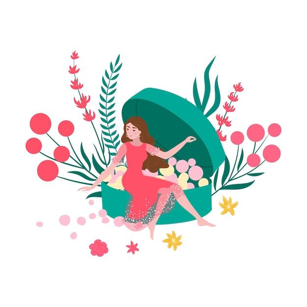 Organische kosmetische frau und puder, natürliche schönheitshaut, schönes natürliches make-up, illustration, auf weiß. glamouröse damenmode, gesichtspflege, professionelle kosmetik. Premium Vektoren