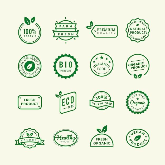 Organische produktstempelembleme stellten illustration ein Kostenlosen Vektoren
