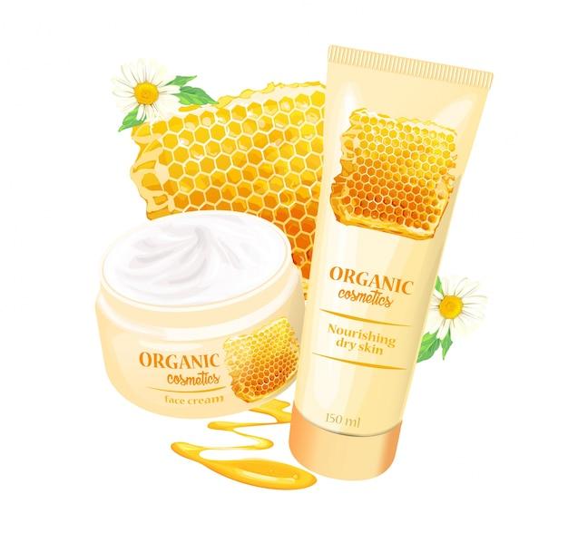 Organisches kosmetikprodukt mit erdbeeren Kostenlosen Vektoren