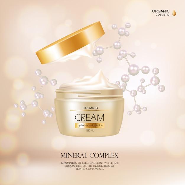 Organisches kosmetisches konzept mit sahnebehälter und golddeckel für werbung in modezeitschrift r Kostenlosen Vektoren