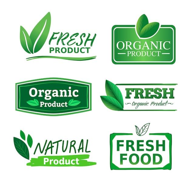 Organisches natürliches und frisches geschäftslogo-aufkleberprodukt mit grünem natürlichem farbthema. Premium Vektoren