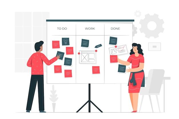 Organisieren der projektkonzeptillustration Kostenlosen Vektoren
