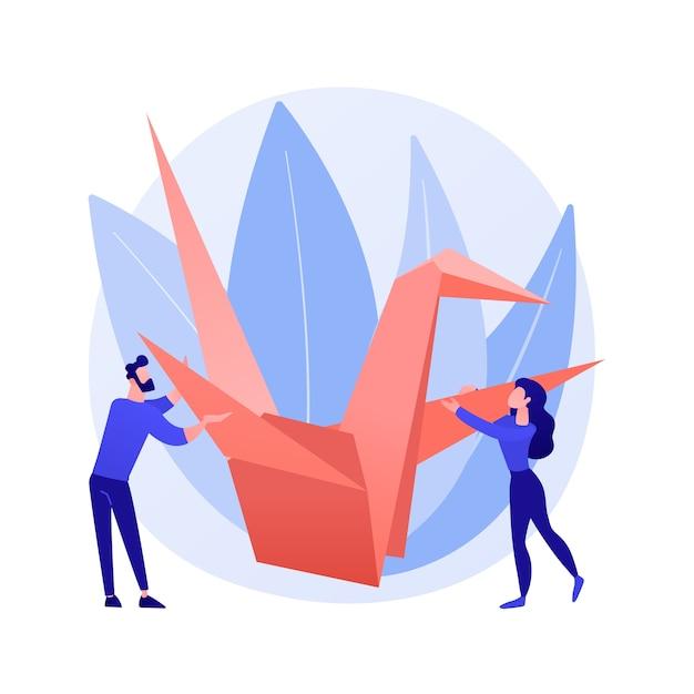 Origami abstraktes konzept vektorillustration. kunst des papierfaltens, mentale praxis, entwicklung feinmotorischer fähigkeiten, nützlicher zeitvertreib in sozialer isolation, wie man eine abstrakte metapher für ein video-tutorial erstellt. Kostenlosen Vektoren