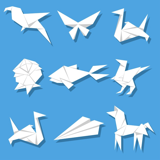 Origami-cartoon-set aus papier Premium Vektoren