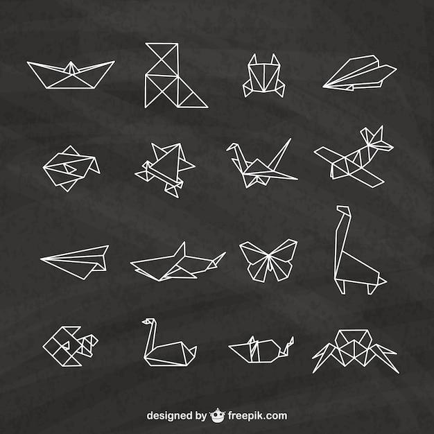 Origami elemente auf einer tafel Premium Vektoren