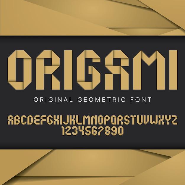 Origami geometrisches schriftplakat mit bunter geometrischer schrift Kostenlosen Vektoren