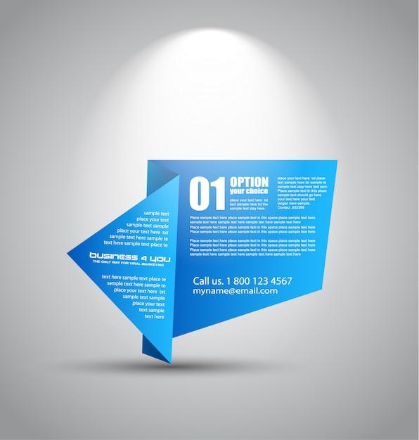 Origami papier style panel mit platz für text, beleuchtet von einem strahler Premium Vektoren