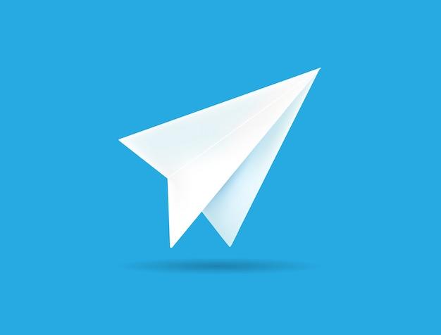Origami papierflugzeug auf blauem hintergrund. Premium Vektoren