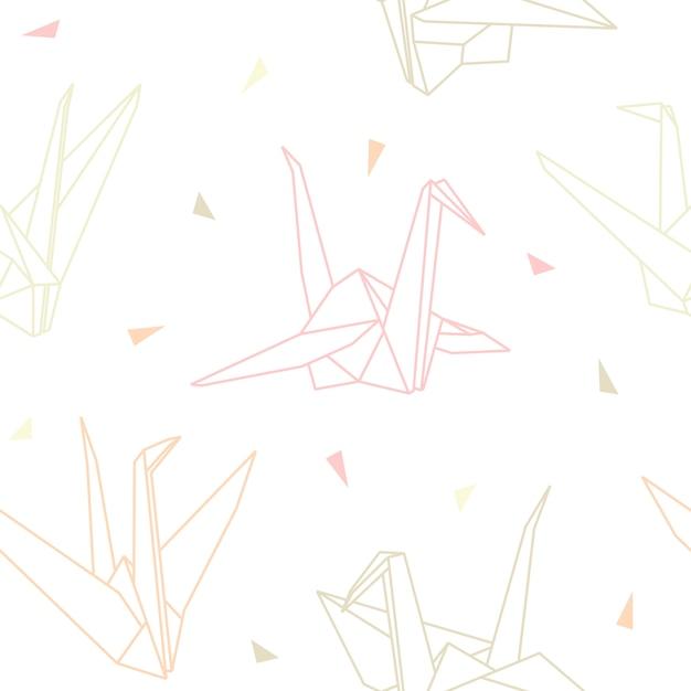 Origami papierkraniche nahtloses muster Premium Vektoren