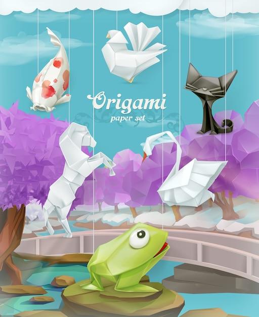 Origami-papiersatz, vektorillustration Premium Vektoren