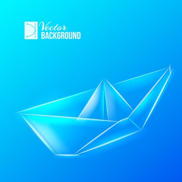 Origami schiff über blau Kostenlosen Vektoren