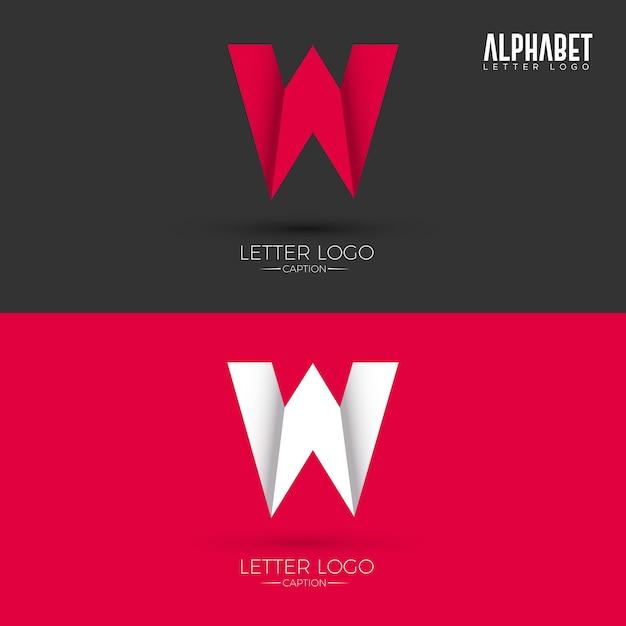Origami Style W Brief Logo | Download der Premium Vektor