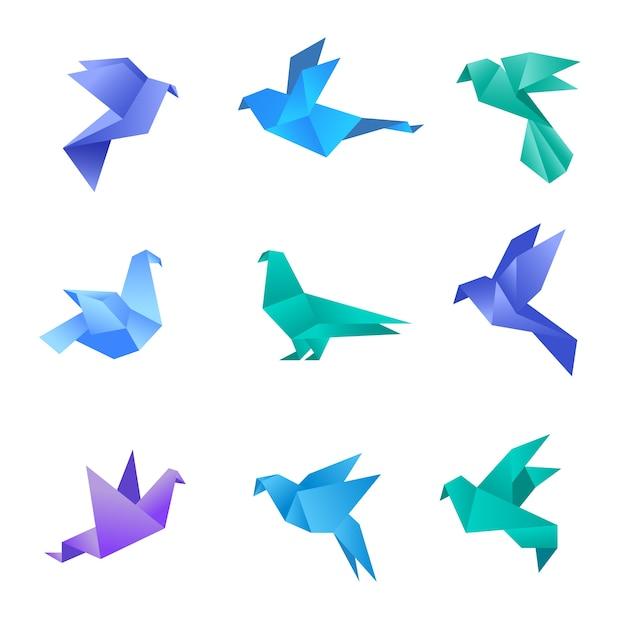 Origami-taube. taubenvögel aus papier stilisierten polygon geometrischen abstrakten tieren vektor origami sammlung. illustration origami tier, taubenvogel, taubenpapier geometrisch Premium Vektoren