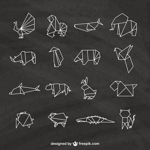 origami tiere packen download der premium vektor. Black Bedroom Furniture Sets. Home Design Ideas