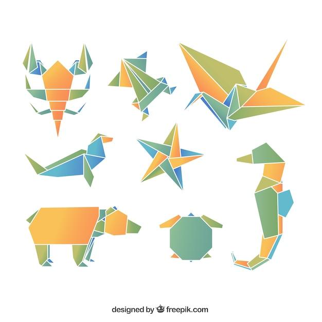 Origami tiere Kostenlosen Vektoren