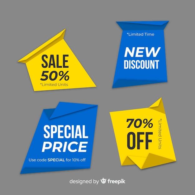 Origami-verkaufsbanner collectio Kostenlosen Vektoren