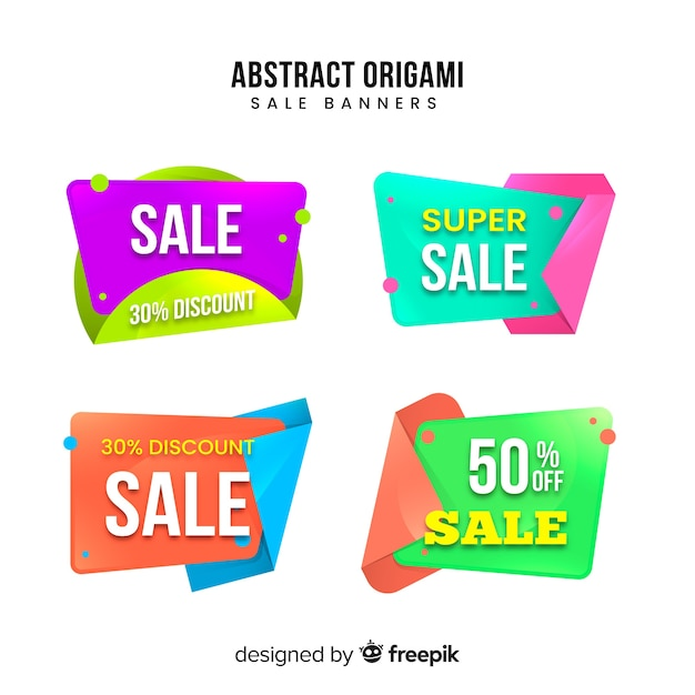 Origami-verkaufsfahnensammlung Kostenlosen Vektoren