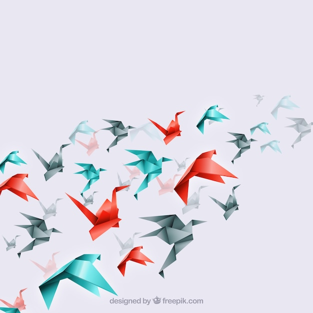 Origami vögel hintergrund Kostenlosen Vektoren