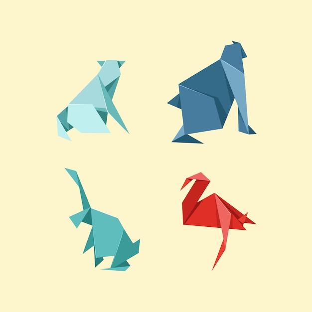 Origami wild- und nutztierset Premium Vektoren