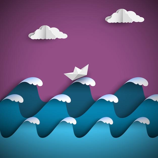 Origamipapier bewegt mit wolken und schiff wellenartig Premium Vektoren