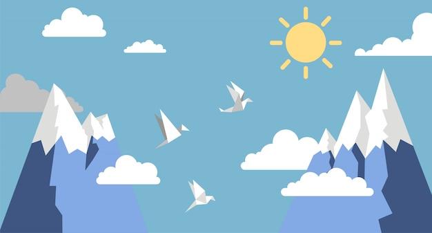 Origamipapiervögel, -berg, -sonne und -wolke auf blauem himmel, flache art Premium Vektoren