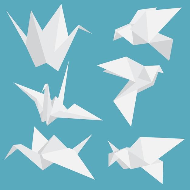 Origamipapiervögel eingestellt Premium Vektoren