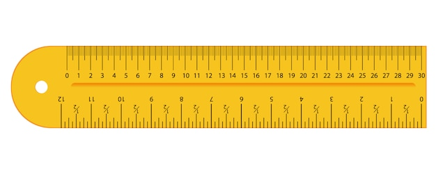 Original gelb zoll und zentimeter lineal. messwerkzeug, staffelungsgitter, flache illustration. Premium Vektoren
